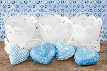 Home decorations with hearts and flower pots