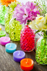 Colorful table decorations with water hydro bubbles