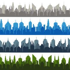 Bright comic cityscapes seamless pattern