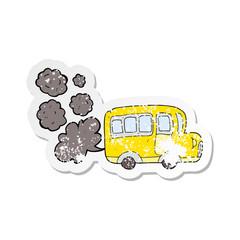 retro distressed sticker of a cartoon yellow school bus