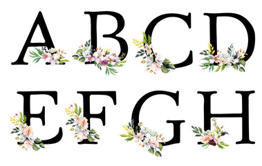 Collection romantic Black letters with drawn watercolor flowers. Elegant emblem for book design, brand name, wedding invitation thanks card