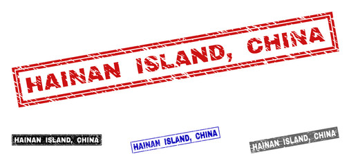 Grunge HAINAN ISLAND, CHINA rectangle stamp seals isolated on a white background. Rectangular seals with grunge texture in red, blue, black and grey colors. Vector rubber overlay of HAINAN ISLAND,