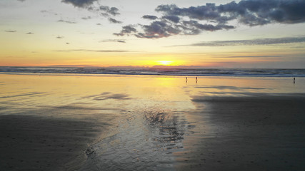 Long Panoramic Pacific Ocean Sunset Cannon Beach Oregon