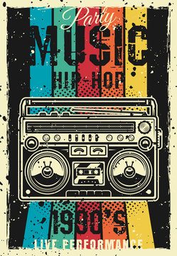Retro party 90s vector colored poster with boombox