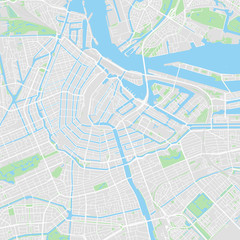 Downtown vector map of Amsterdam, Netherlands
