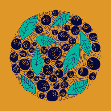 Circle concept berries acai vector line. hand drawing, funny doodles on a yellow background.