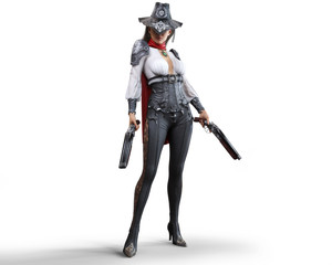 Portrait of a mysterious steampunk woman gunslinger holding two shotguns on an isolated white background.  3d rendering