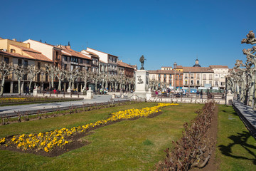 Main square and park of Alcala de Henares in Madrid province, Spain.