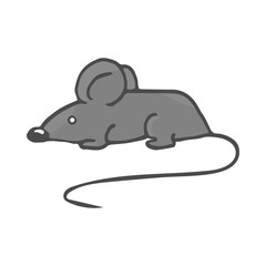 Cartoon white mouse. Color Vector illustration isolated on white background.