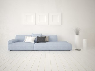 Mock up a bright corner with a uniquely comfortable sofa and a bright hipster backdrop.