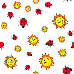 Seamless pattern of ladybugs and suns in in cartoon style