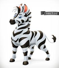 Zebra cartoon character. Funny animal, 3d vector icon