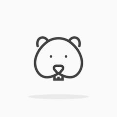 Hamster icon in line style. Editable stroke.