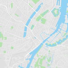 Downtown vector map of Copenhagen, Denmark