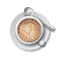 White Cup of coffee with heart. Spoon on a saucer. Vector realistic illustration. Flat Lay view.