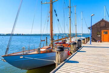 Sailing boats mooring in Gager port, Ruegen island, Baltic Sea, Germany