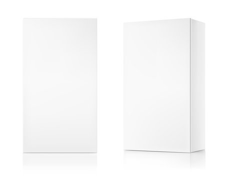 Realistic cardboard box mockups. Front and perspective view. Vector illustration isolated on white background. Can be use for food, medicine, cosmetic and other. Ready for your design. EPS10.