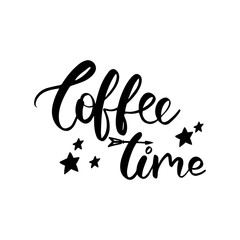 Vector hand lettering illustration. Coffee time. Calligraphy phrase with black stars. Design composition with typography elements.