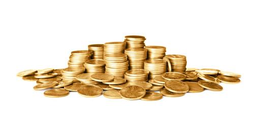 Many shiny gold coins on white background