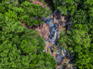 """Bird's eye view of the waterfall """"Salto Pai"""" in the Colonia Independencia in Paraguay.."""