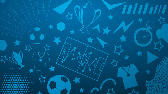 Background of football or soccer symbols in blue colors