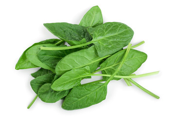 fresh spinach isolated on white background. Top view. Flat lay