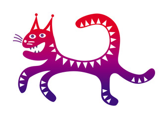 Running cat Funny cartoon drawing in red and purple colors. Crazy. Vector graphics.