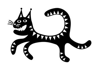 Running cat. Funny cartoon drawing black and white Crazy. Vector graphics.