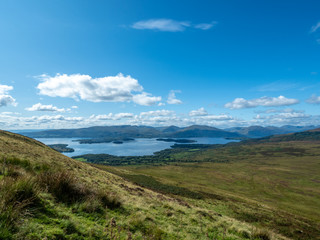 overview at beautiful lake (loch lomond)