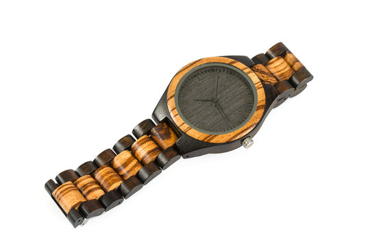 wooden wrist watch isolated on white