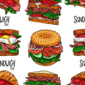 Seamless appetizing sandwiches