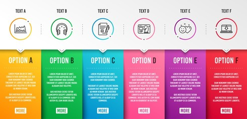 Headphones, Trade chart and Reject file icons simple set. Smile, Seo strategy and Internet downloading signs. Earphones, Market data. Business set. Infographic template. 6 steps timeline. Vector