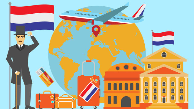 Welcome to Netherlands postcard. Travel and safari concept of Europe world map vector illustration with national flag