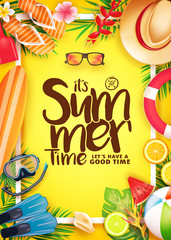 Summer Time 3D Realistic Vector Poster in Yellow Background with Frame and Tropical Elements Like Scuba Diving Equipment, Surf Board, Slippers, Digital Camera, Mobile Phone, Hat, Palm Leaves