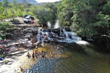 Aerial view of a beautiful waterfall in Capitolio, Minas Gerais, Brazil. Capitolio's lagoon. Furnas's dam. Tropical travel. Travel destination. Vacation travel.