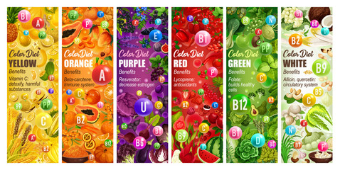Healthy color diet, fruits and veggies, vitamins