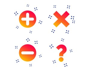 Plus and minus icons. Delete and question FAQ mark signs. Enlarge zoom symbol. Random dynamic shapes. Gradient question icon. Vector
