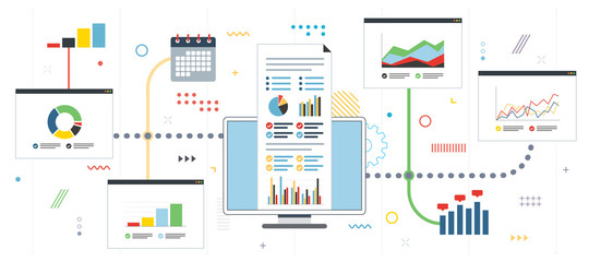 Strategy and monitoring  of gains in financial market.  Chart or diagram in application for monitoring with growth report. Template in flat design for web banner or infographic in vector illustration.