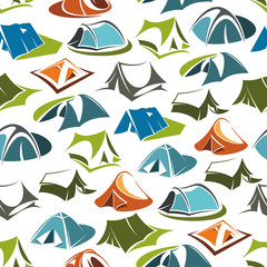 Camping tents seamless vector pattern