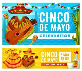 Mexican sombrero, guitar, maracas. Cinco de Mayo