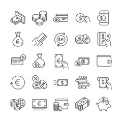 Money wallet line icons. Set of Cash, Credit card and Coins icons. Banking, Currency exchange and Cashback service. Wallet, Euro and Dollar money, credit card. Cash exchange, bank payment. Vector