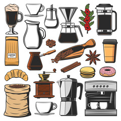 Isolated coffee beans and spices, machine icons