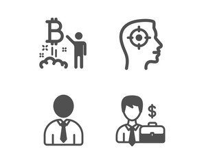Set of Recruitment, Human and Bitcoin project icons. Businessman case sign. Headhunter aim, Person profile, Cryptocurrency startup. Human resources.  Classic design recruitment icon. Flat design