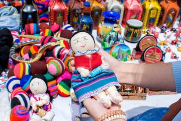 Souvenirs in Otavalo market, Ecuador