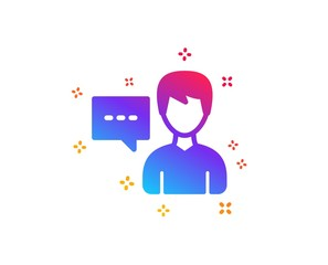 User communication icon. Male Person with chat speech bubble sign. Human silhouette symbol. Dynamic shapes. Gradient design person talk icon. Classic style. Vector