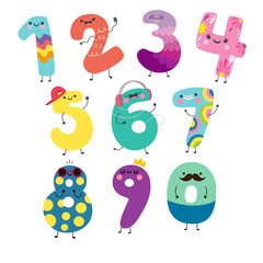 Cute funny numbers. Adorable vector math characters.