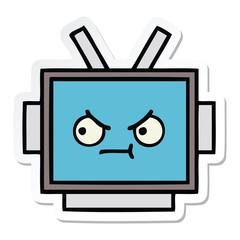 sticker of a cute cartoon robot head