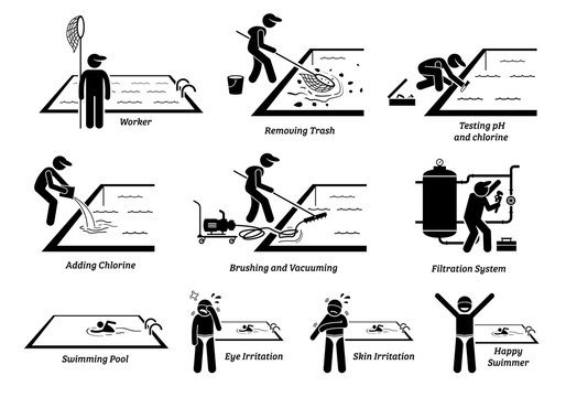 Worker cleaning swimming pool and maintenance services. Artworks depict man removing trash, testing water pH, adding chlorine, brushing, vacuuming, and fixing swimming pool filtration.