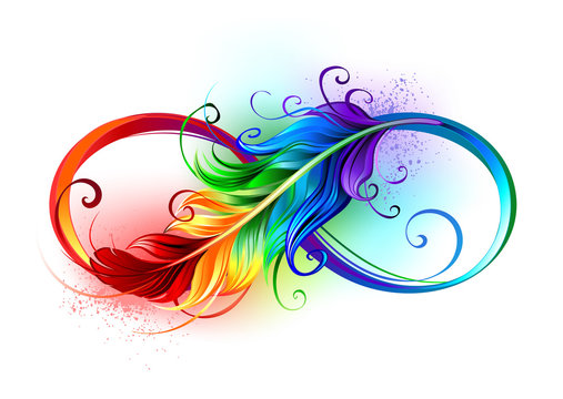Infinity symbol with rainbow feather
