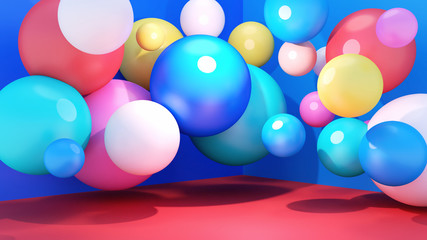 Room decorated with random sizes balls. 3d rendering picture.